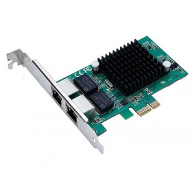 POWERTECH Κάρτα Επέκτασης PCI-e to 2x LAN 10/100/1000, Chip Intel 82575- POWERTECH