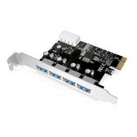 POWERTECH Κάρτα Επέκτασης PCI-e σε USB 3.0, 4 θύρες, Chipset VL805- POWERTECH