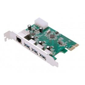 POWERTECH Κάρτα Επέκτασης PCI-e σε USB 3.0 & 1x LAN, VL805+RTL8153- POWERTECH