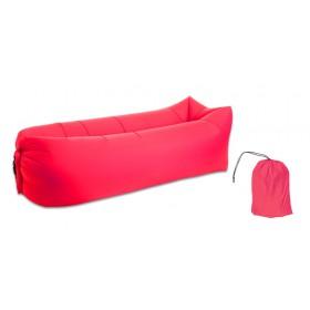 Φουσκωτό στρώμα lazy bag TMV-0026 με τσάντα μεταφοράς, 230x70cm, κόκκινο- UNBRANDED