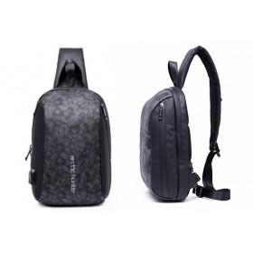 ARCTIC HUNTER Τσάντα Crossbody XB-00081-BK, USB, αδιάβροχη, μαύρη-grid- ARCTIC HUNTER