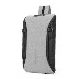 ARCTIC HUNTER τσάντα crossbody XB00046-LG, αδιάβροχη, lock, ανοιχτό γκρι- ARCTIC HUNTER