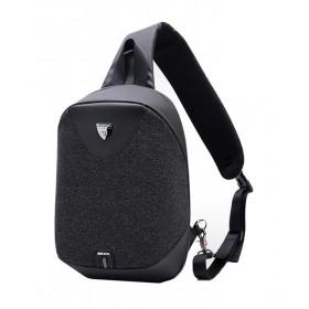 ARCTIC HUNTER τσάντα Crossbody XB0049-BK, αδιάβροχη, USB, μαύρη- ARCTIC HUNTER