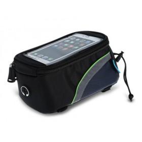 ROSWHEEL Τσάντα ποδηλάτου με θήκη τηλεφώνου, αδιάβροχη, Black/Green- ROSWHEEL