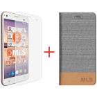MLS FLIP CASE SILVER + TEMPERED GLASS FOR ALU 3G - MLS