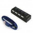 GEMBIRD HUB USB 3.0, 4 PORT ΜΕ ΔΙΑΚΟΠΤΕΣ ΚΑΙ ΤΡΟΦΟΔΟΣΙΑ, ΜΑΥΡΟ
