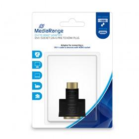 MediaRange DVI to HDMI™ adapter, gold-plated, DVI-I socket (24+5 Pin)/HDMI plug, black (MRCS171)