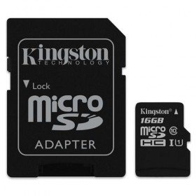 microSDXC Kingston 16GB UHS-I Class 10 Read Card + SD Adapter- Kingston