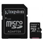 microSDXC Kingston Canvas Select 64GB UHS-I CL10 80Read + SD Adapter-