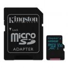 microSDXC Kingston Canvas Go 128GB Class U3 UHS-I V30 Card + SD Adapter-