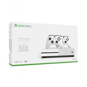 Console Microsoft Xbox One S  / amp; 2 White wireless Controllers Bundle 1TB-
