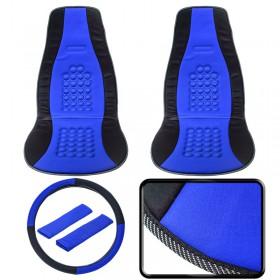 Πολυεστερικό Διπλό Κάλυμμα Θέσεων/ Ζώνη/ Τιμόνι Blue 0620.022