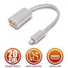 Καλώδιο Micro USB Male to Female USB 2.0 White 20cm 1018.401