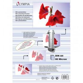Olympia 9166 Φύλλα πλαστικοποίησης για Α4 σε κουτί 80 microns 100 τμχ - OLYMPIA