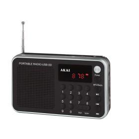 AKAI DR002A-521 ΜΑΥΡΟ ΡΑΔΙΟ USB ΦΟΡΗΤΟ - AKAI