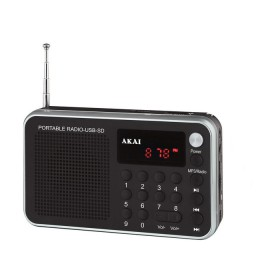 Akai DR002A-521 Μαύρο Φορητό ψηφιακό ραδιόφωνο με USB, κάρτα SD και Aux-In - AKAI