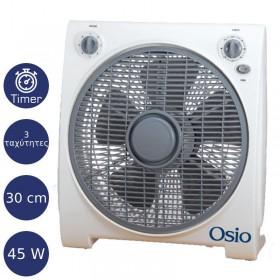 OSIO EFB-4020 BOX FAN ΑΝΕΜΙΣΤΗΡΑΣ ΜΕ ΧΡΟΝΟΜΕΤΡΟ 30CM (12″) 45W - OSIO