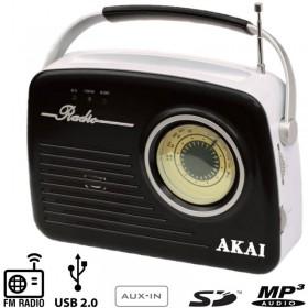 Akai APR-11B Ρετρό φορητό ραδιόφωνο με USB, κάρτα SD και Aux-In - AKAI
