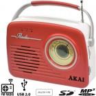 Akai APR-11R Ρετρό φορητό ραδιόφωνο με USB, κάρτα SD και Aux-In - AKAI