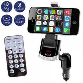 Akai FMT-8118BT FM transmitter, βάση κινητού και φορτιστής αυτοκινήτου με Bluetooth, ηχείο, USB και Aux-In - AKAI