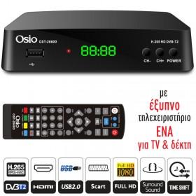 OSIO OST-2660D DVB-T/T2 FULL HD H.265 MPEG-4 ΨHΦIAKOΣ ΔΕΚΤΗΣ ΜΕ USB ΚΑΙ ΧΕΙΡΙΣΤΗΡΙΟ ΓΙΑ TV & ΔΕΚΤΗ - OSIO