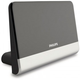 Philips SDV6222/GRS Κεραία τηλεόρασης HDTV/4K/UHF/VHF/FM εσωτερικού χώρου με ενισχυτή 48 dB και φίλτρο GSM  – 21 x 14 cm - PHILIPS