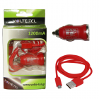 VOLTE-TEL MICRO USB(ΦΟΡΤΙΣΗΣ-DATA VCD01+Φ.Α VCU09 1200mA) RED