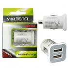 USB DUAL ΦΟΡΤΙΣΤΗΣ ΑΥΤΟΚΙΝΗΤΟΥ mini VOLTE-TEL VCU33 3300mA WHITE