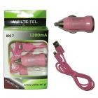 LIGHTNING USB(ΦΟΡΤΙΣΗΣ-DATA VCD01+Φ.Α VCU09 1200mA)PINK iOS7 VT