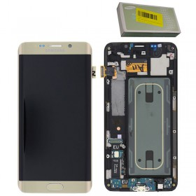 SAMSUNG G928F S6 EDGE PLUS ΟΘΟΝΗ + TOUCH SCREEN + LENS + FRONT GH97-17819A GOLD ORIGINAL SERVICE PACK
