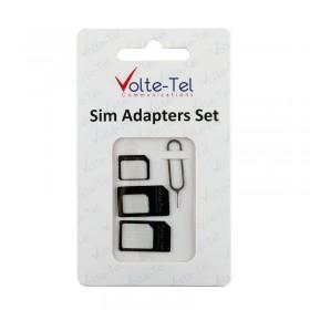 ADAPTORS SET 4 IN 1 - 3 SIM CARD ADAPTORS + SIM CARD TRAY TOOL VOLTE-TEL