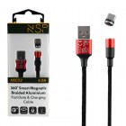 NSP TYPE C USB ΦΟΡΤΙΣΗΣ-DATA MAGNETIC BRAIDED NSC02 4.0A QC 3.0 1.2m RED