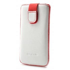 Θήκη Protect Ancus για Sony Xperia Z1 Compact / Z3 Compact / Z5 Compact Old Leather Λευκή με Κόκκινη Ραφή