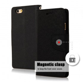 Θήκη Book Goospery Fancy Diary για Apple iPhone 6/6S Μαύρη by Mercury