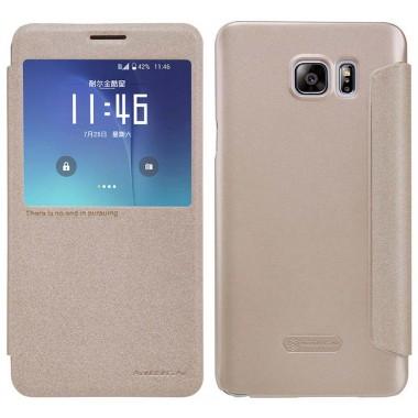 Θήκη Book S-View Nillkin Sparkle Leather για Samsung SM-N920F Galaxy Note 5 Χρυσαφί με ενεργό S-View