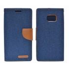 Θήκη Book Goospery Canvas Diary for Samsung SM-G930F Galaxy S7 Σκούρο Μπλέ - Καφέ by Mercury