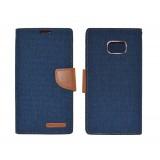 Θήκη Book Goospery Canvas Diary for Samsung SM-G935F Galaxy S7 Edge Σκούρο Μπλέ - Καφέ by Mercury
