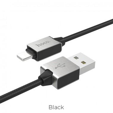 Καλώδιο σύνδεσης Κορδόνι Hoco U49 για iPhone/iPad/iPod Lightning με Ενισχυμένες Μεταλλικές Επαφές 1.2 μ. Μαύρο