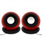 Ηχείο Stereo Multimedia Leerfei D-008 με σύνδεση 3.5mm και USB φόρτιση, Κόκκινο