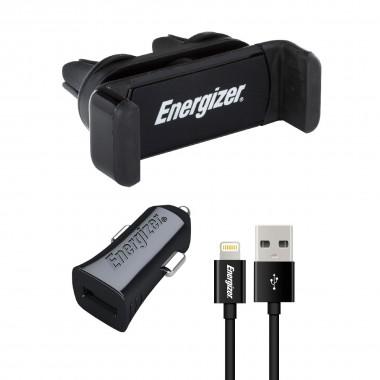 Βάση Στήριξης και Φορτιστής Energizer 3.4A με Αποσπώμενο Καλώδιο Lightning 1μ Μαύρο 3492548227723