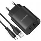 Φορτιστής Ταξιδίου Borofone BN2 Super Fast Dual USB 5V 2.1A με Αποσπώμενο Καλώδιο Micro-USB 1μ. Μαύρος